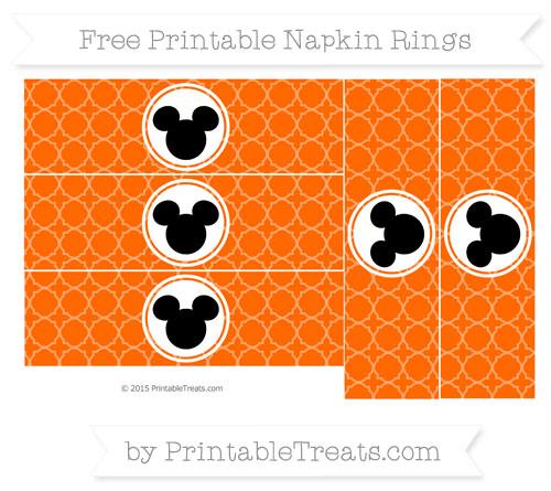 Free Safety Orange Quatrefoil Pattern Mickey Mouse Napkin Rings