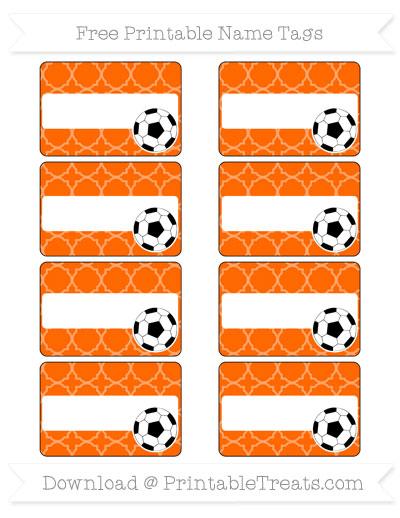 Free Safety Orange Quatrefoil Pattern Soccer Name Tags