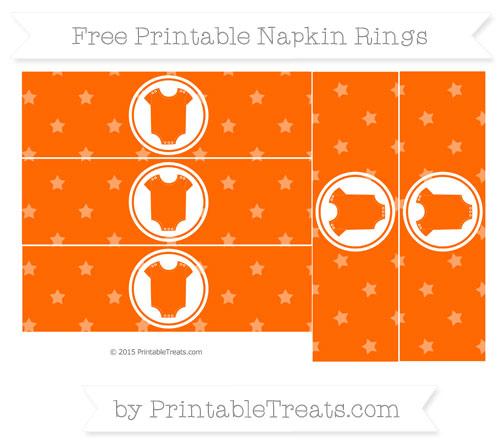 Free Safety Orange Star Pattern Baby Onesie Napkin Rings
