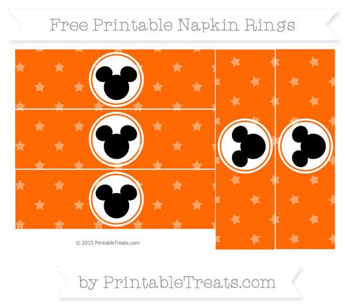 Free Safety Orange Star Pattern Mickey Mouse Napkin Rings