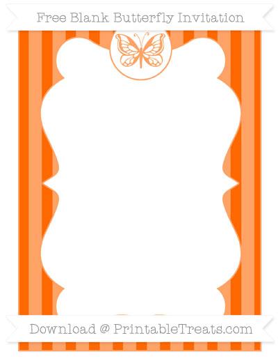 Free Safety Orange Striped Blank Butterfly Invitation