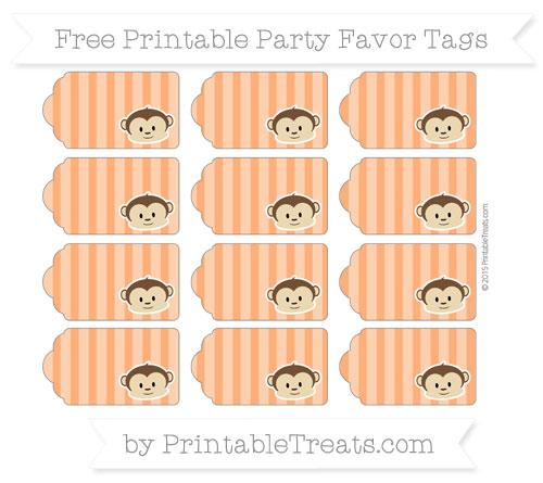 Free Safety Orange Striped Boy Monkey Party Favor Tags