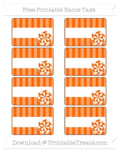 Free Safety Orange Striped Cheer Pom Pom Tags