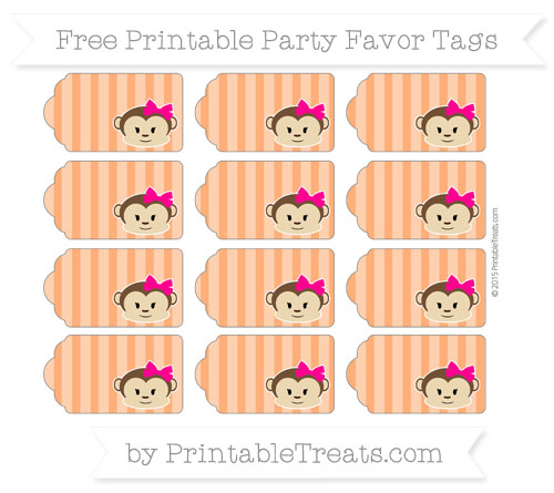 Free Safety Orange Striped Girl Monkey Party Favor Tags