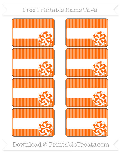 Free Safety Orange Thin Striped Pattern Cheer Pom Pom Tags