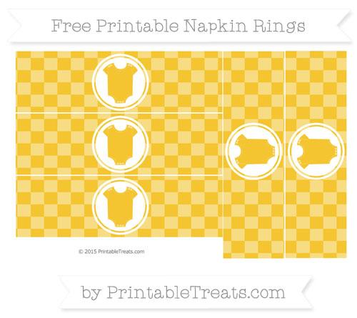 Free Saffron Yellow Checker Pattern Baby Onesie Napkin Rings