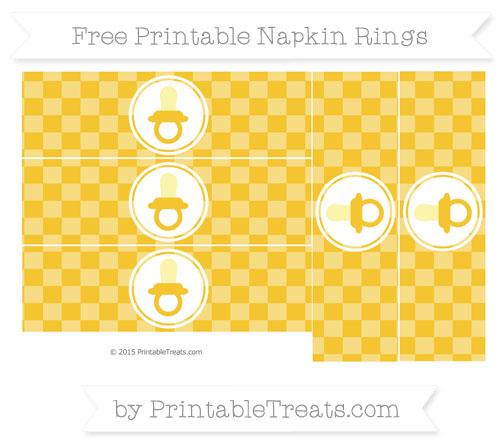 Free Saffron Yellow Checker Pattern Baby Pacifier Napkin Rings