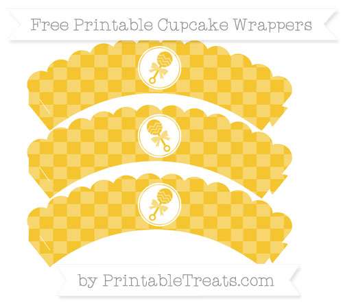 Free Saffron Yellow Checker Pattern Baby Rattle Scalloped Cupcake Wrappers