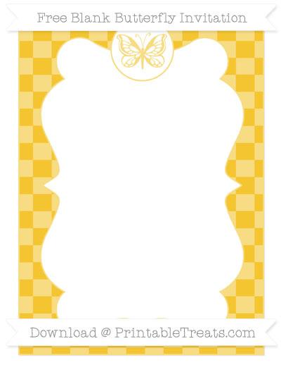 Free Saffron Yellow Checker Pattern Blank Butterfly Invitation