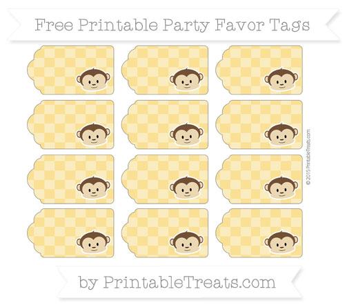 Free Saffron Yellow Checker Pattern Boy Monkey Party Favor Tags