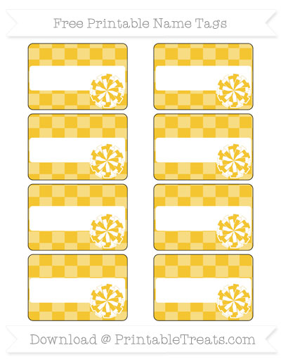 Free Saffron Yellow Checker Pattern Cheer Pom Pom Tags