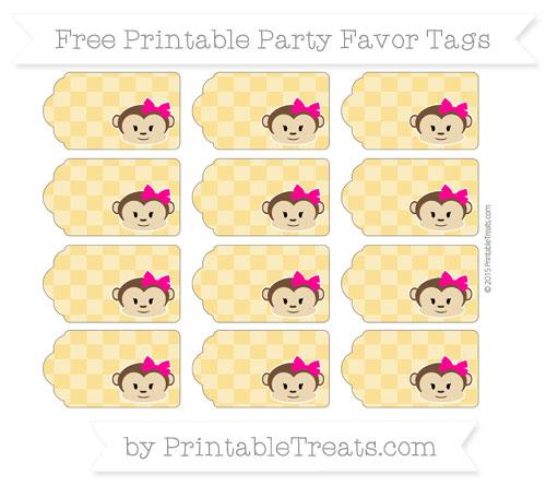Free Saffron Yellow Checker Pattern Girl Monkey Party Favor Tags