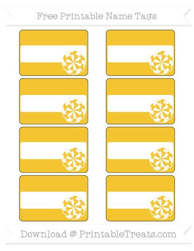 Free Saffron Yellow Cheer Pom Pom Tags