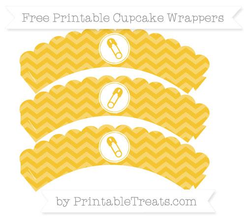 Free Saffron Yellow Chevron Diaper Pin Scalloped Cupcake Wrappers