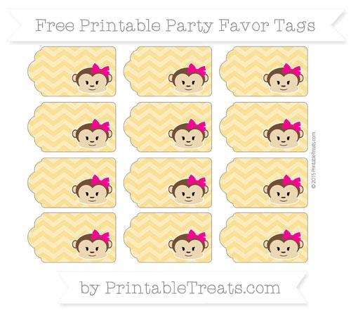 Free Saffron Yellow Chevron Girl Monkey Party Favor Tags
