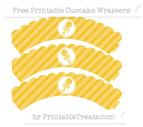Free Saffron Yellow Diagonal Striped Baby Rattle Scalloped Cupcake Wrappers