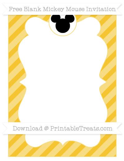 Free Saffron Yellow Diagonal Striped Blank Mickey Mouse Invitation