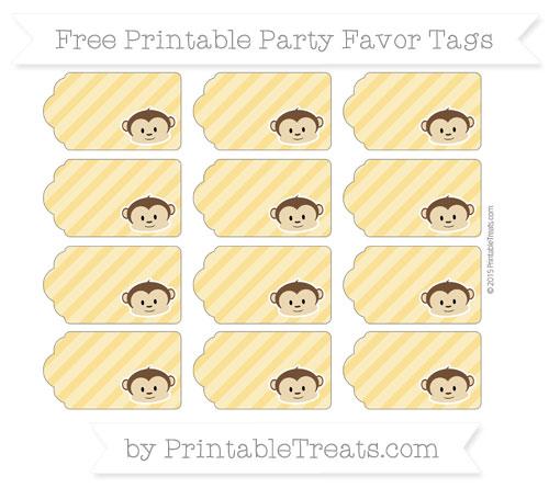 Free Saffron Yellow Diagonal Striped Boy Monkey Party Favor Tags