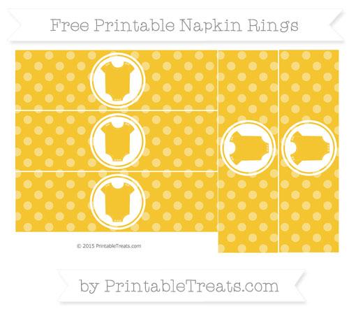 Free Saffron Yellow Dotted Pattern Baby Onesie Napkin Rings