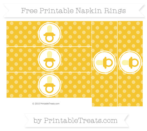 Free Saffron Yellow Dotted Pattern Baby Pacifier Napkin Rings