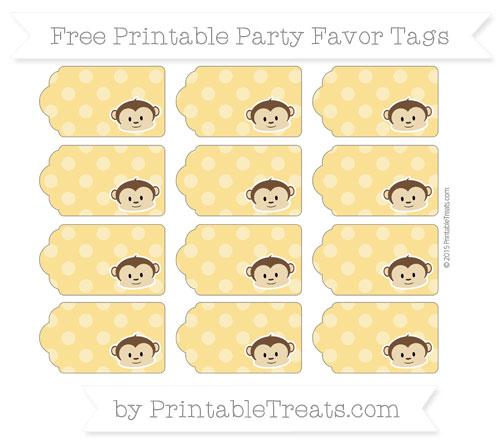 Free Saffron Yellow Dotted Pattern Boy Monkey Party Favor Tags