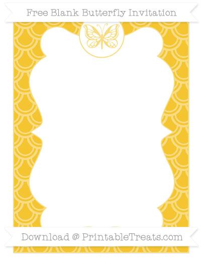 Free Saffron Yellow Fish Scale Pattern Blank Butterfly Invitation