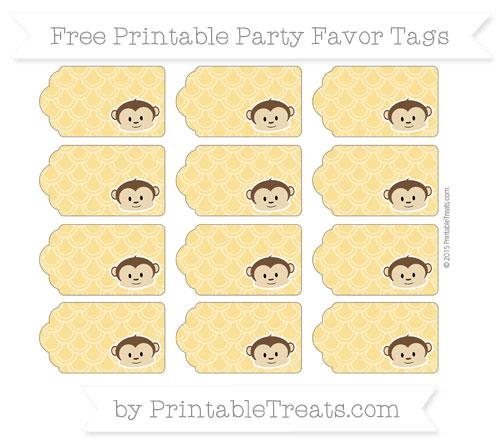 Free Saffron Yellow Fish Scale Pattern Boy Monkey Party Favor Tags