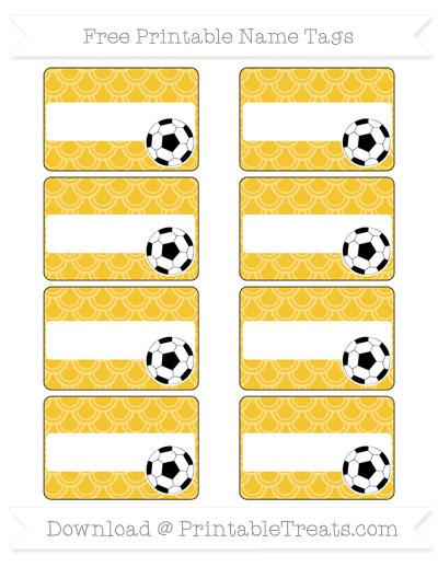 Free Saffron Yellow Fish Scale Pattern Soccer Name Tags