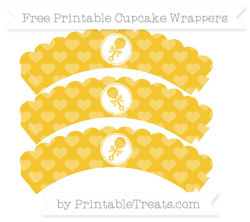 Free Saffron Yellow Heart Pattern Baby Rattle Scalloped Cupcake Wrappers