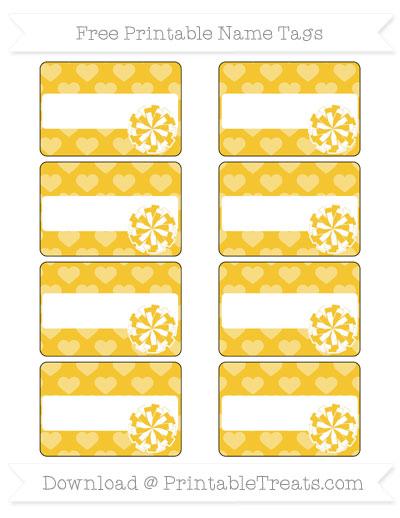 Free Saffron Yellow Heart Pattern Cheer Pom Pom Tags