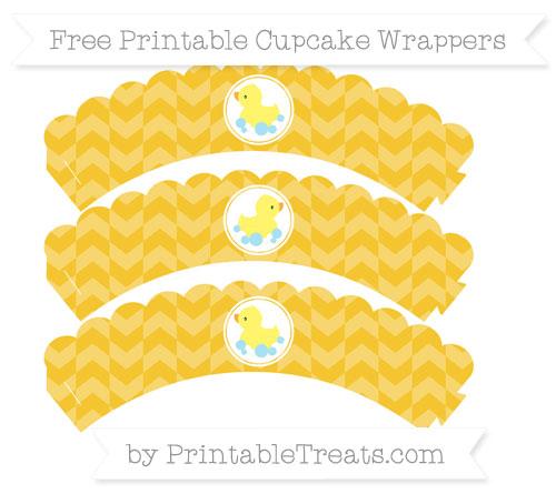 Free Saffron Yellow Herringbone Pattern Baby Duck Scalloped Cupcake Wrappers