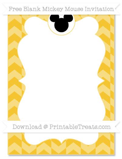 Free Saffron Yellow Herringbone Pattern Blank Mickey Mouse Invitation