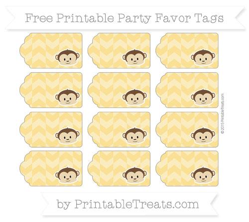Free Saffron Yellow Herringbone Pattern Boy Monkey Party Favor Tags