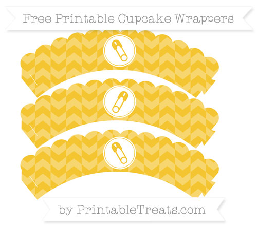 Free Saffron Yellow Herringbone Pattern Diaper Pin Scalloped Cupcake Wrappers