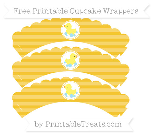 Free Saffron Yellow Horizontal Striped Baby Duck Scalloped Cupcake Wrappers