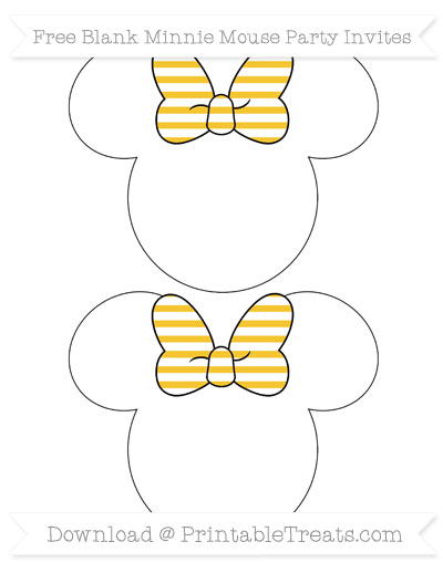 Free Saffron Yellow Horizontal Striped Blank Minnie Mouse Party Invites