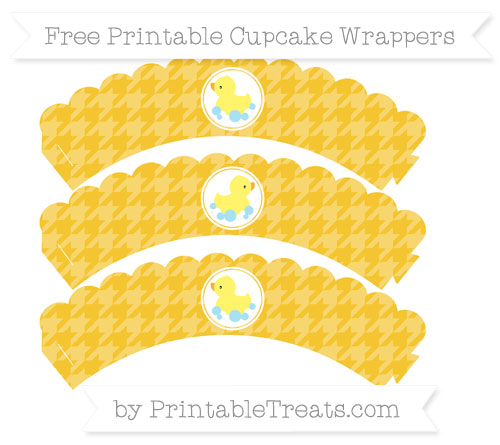 Free Saffron Yellow Houndstooth Pattern Baby Duck Scalloped Cupcake Wrappers