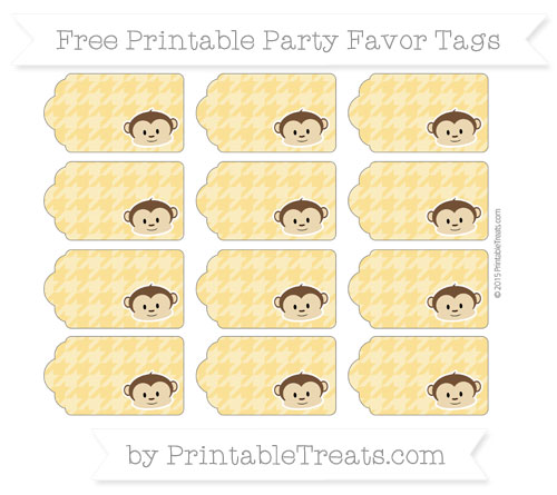 Free Saffron Yellow Houndstooth Pattern Boy Monkey Party Favor Tags