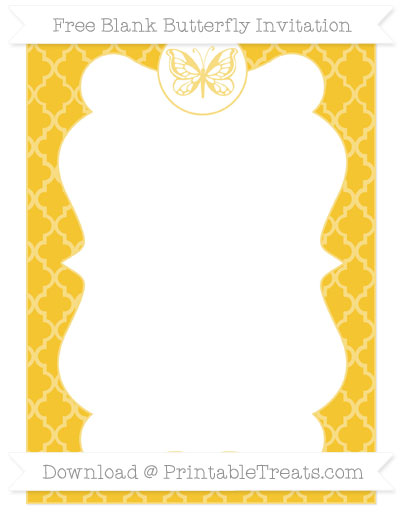 Free Saffron Yellow Moroccan Tile Blank Butterfly Invitation