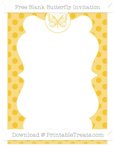 Free Saffron Yellow Polka Dot Blank Butterfly Invitation