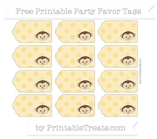 Free Saffron Yellow Polka Dot Boy Monkey Party Favor Tags