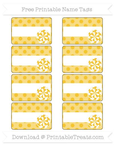 Free Saffron Yellow Polka Dot Cheer Pom Pom Tags