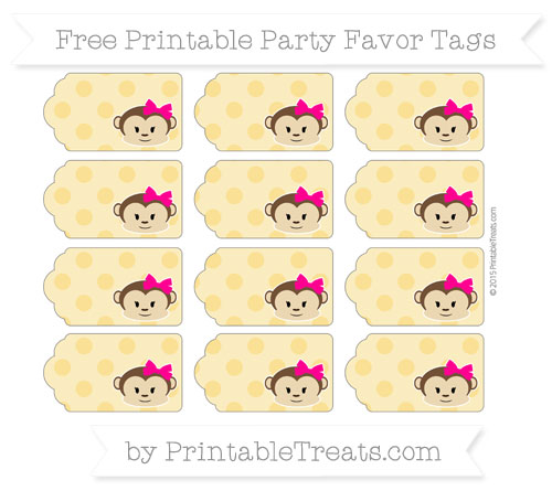 Free Saffron Yellow Polka Dot Girl Monkey Party Favor Tags