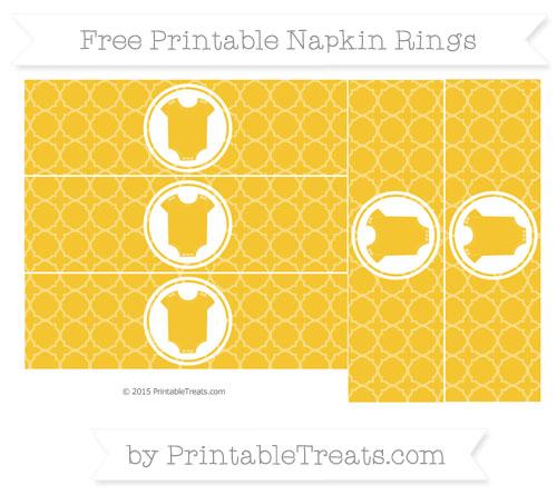 Free Saffron Yellow Quatrefoil Pattern Baby Onesie Napkin Rings