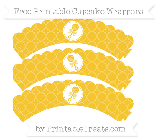 Free Saffron Yellow Quatrefoil Pattern Baby Rattle Scalloped Cupcake Wrappers