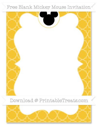 Free Saffron Yellow Quatrefoil Pattern Blank Mickey Mouse Invitation