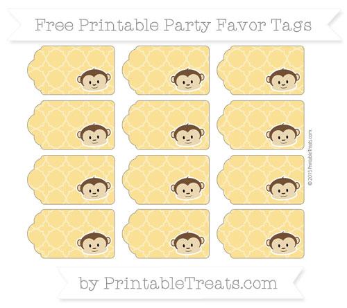Free Saffron Yellow Quatrefoil Pattern Boy Monkey Party Favor Tags