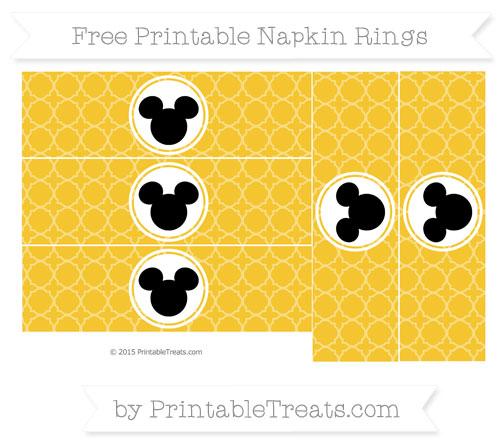 Free Saffron Yellow Quatrefoil Pattern Mickey Mouse Napkin Rings