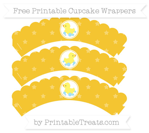 Free Saffron Yellow Star Pattern Baby Duck Scalloped Cupcake Wrappers