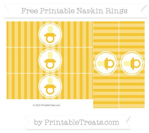 Free Saffron Yellow Striped Baby Pacifier Napkin Rings